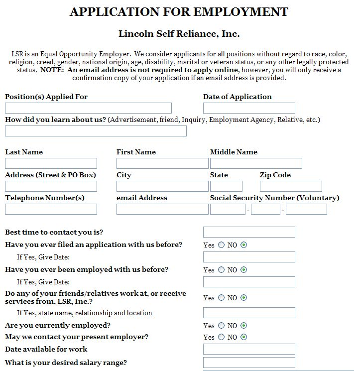 filled out application